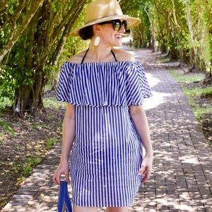 J. Crew Blue White Striped Lightweight Cover Up